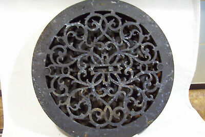 Antique 1854 Cast Iron Floor Vent Round Heat Grate Register Louvres 11 1/2