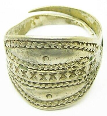 9th - 10th century A.D. Scandinavian Viking Scutiform Finger Ring Punched Design