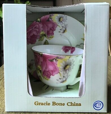 Gracie Bone China Floral Roses & Daisies Cup & Saucer Set, Coastline Imports NEW