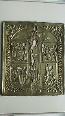 Icona Russa,Antique Russian Orthodox icon riza ,,Cyricus and Julitta,,from 19c.