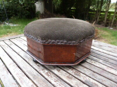 Lovely Antique Mahogany Upholstered Footstool.