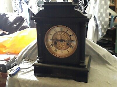 Antique German Badische Uhrenfabrik Slate Effect Mantel Clock Working .ca 1890s