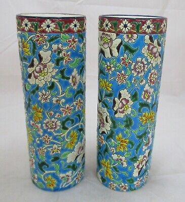 Good pair Antique French Longwy faience vases, 9 inches high