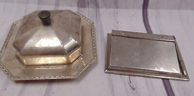 Art Deco WALKER & HALL Silver Plate Butter Dish & Nickel Plated Notepad - T04