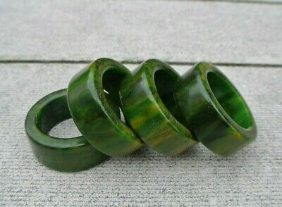 Set 4 Vintage Green & Yellow Swirl Bakelite Round Napkin Ring Holders