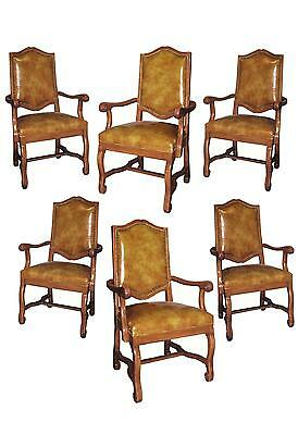 Set Six Italian Tuscan St Carved Arm Dining Chairs Faux Leather W Spaniish Nails