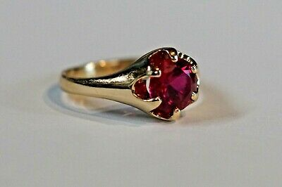 Vintage 10k yellow gold ring with one 7.12 mm Ruby, size 5