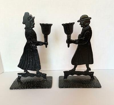 Antique Vtg Colonial couple Candleholders Look Cast Iron Black Painted Figural