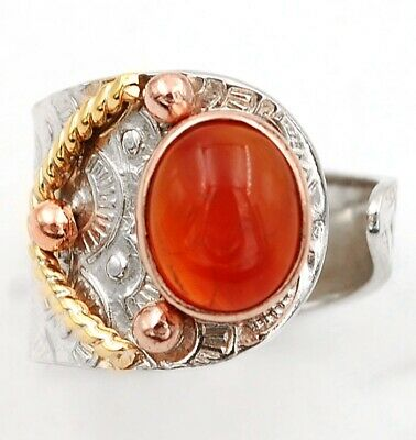 Three Tone Natural Carnelian 925 Sterling Silver Ring Jewelry Sz 8 C31-3
