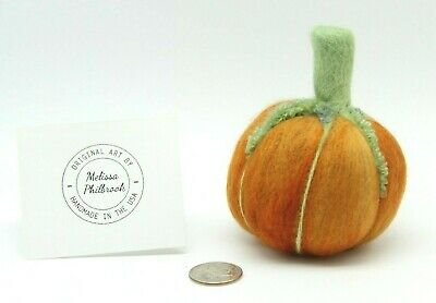 Halloween Thanksgiving needle felted Wool Pumpkin Melissa Philbrook Primitive