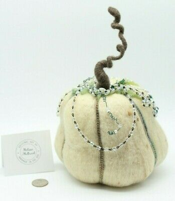 "Halloween Pumpkin ""Crystal Harvest"" Needle felted Wool Melissa Philbrook USA 11"""