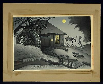 "Vintage Original Shin Hanga Woodblock Print by BAKUFU OHNO ""Water Mill at Night"""