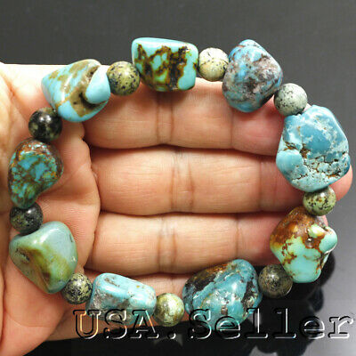 255CT 100% Natural Blue Kingman Turquoise Rough Nugget Bead Bracelet  7.25""