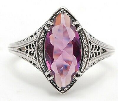 4CT Amethyst 925 Solid Sterling Silver Art Nouveau Ring Jewelry Sz 8