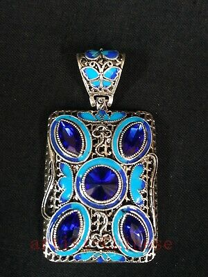 Collection Chinese Old Cloisonne Butterfly Flower Inlay Jewelry Necklace Pendant