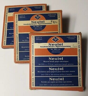 Agfa Neutol Neutral Black Paper Developer Lot Of 3