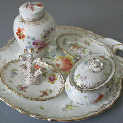 Antique DRESDEN Porcelain 5Pc Dresser Set TRAY Ring Dish GINGER JAR Box * KLEMM