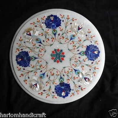 """12"""" Marble Marquetry Floral Inlaid Round Dining Table Top Handicraft Decor H186"""