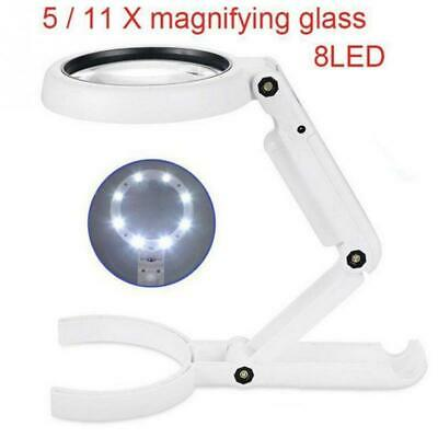 5/11X Magnifying Glass Magnifier Lighted Tool Desk Table Lamp with 8LED L0r
