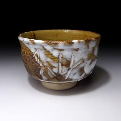 UR1: Vintage Japanese Pottery Tea Bowl with White glaze, Kyo Ware
