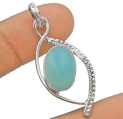 Charming Design Aquamarine Chalcedony  925 Sterling Silver Pendant Jewelry 1B8-4