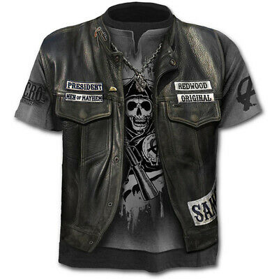 Fashion Men's Funny Skull 3D Print T-Shirt Casual Short Sleeve Tops Tee