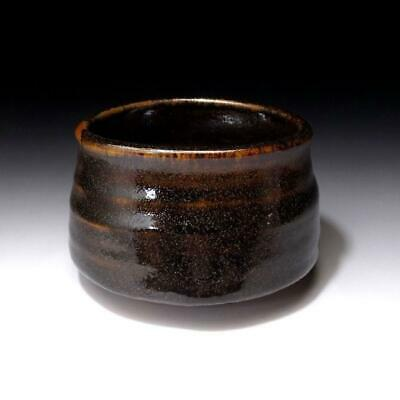 FB17: Antique Japanese Hand-shaped Pottery Tea Bowl, Old Seto Ware, 19C