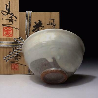 LE3: Vintage Japanese pottery tea bowl, Tanba Ware with Signed wooden box
