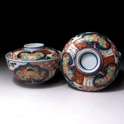 JK11: Pair of Antique Japanese Old Imari Hand-painted Covered Bowls, 19C