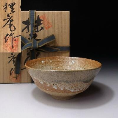 SO6:  Vintage Japanese Pottery Tea Bowl, Shigaraki Ware with Signed wooden box