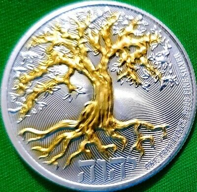 NEW  2019 Tree of Life , 1 oz .9999 pure Silver Coin , 24k Gold Gilded