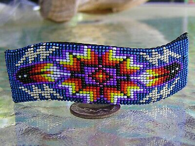 "Beautiful Large Navajo Indian Handmade Beaded Barrette ""Wave Pattern"" Nathaniel"