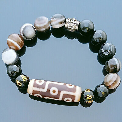 Authentic Tibetan OLD Agate dZi Bead 9 Eyes Bracelet for Wealth and Success