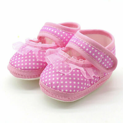 Newborn Infant Baby Casual Flats Girl  Lace Soft Sole Prewalker Shoes Anti-Slip