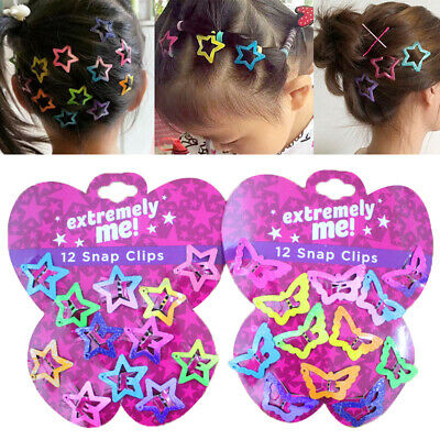 12PCS/Set Glitter Butterfly Star Hair Snap Clips Girls Kids Hairpins Xmas Gifts