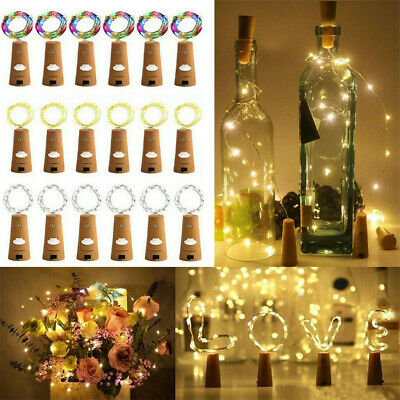 LED Wine bottle Cork with 2M 20 Lights on a String Bottle Battery Operated LR44