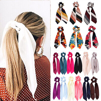 Striped Floral Printing Bow Scrunchie Hair Band Women Scarf Ties Elastic Rope