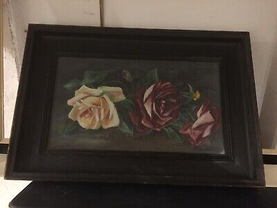 ANTIQUE PAINTING OIL ON CANVAS HUGE RED & YELLOW ROSES VICTORIAN c1890