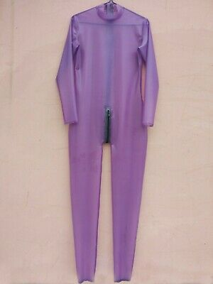 Latex 100% Rubber Unisex Purple Long Slevees Catsuit With Black Zipper S-XXL