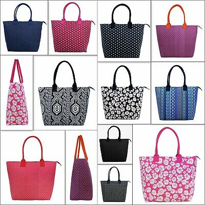 Ladies Women Large Printed Canvas Shopper Tote Bag Shoulder Holiday Beach Bag