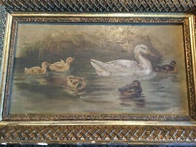 Antique Victorian Oil Painting Ducks Ducklings Signed Listed Artist ?