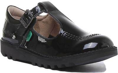 Kickers Kick T Pat Youth Leather Shoes In Black Patent Size UK 3 - 6.5