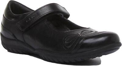 GEOX JR SHADOW Kids Leather Shoes In Black Size UK 10 2