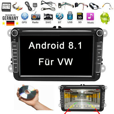 "Autoradio Android 8.1 2DIN 8"" GPS Navi Bluetooth Für VW GOLF5 PASSAT POLO TIGUAN"