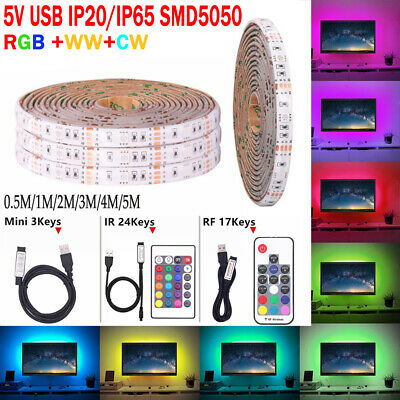 5M RGB SMD 5V USB LED Ruban Bande Strip Lights TV Flexible  Guirlande Lumineuse