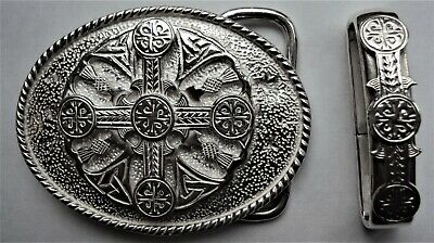Solid Sterling Silver Oval Celtic Cross Belt Buckle with Belt Keeper