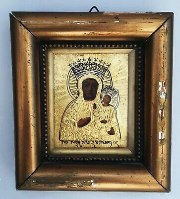 Antique russian icon wood hand painted gilded