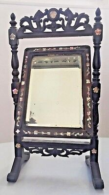 Antique chinese mirror carved mother of pearl and wood