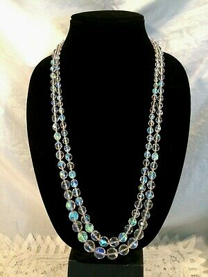 2 Strands Art Deco Bohemian Faceted Clear Glass Beaded Necklaces w Tag NvrWorn