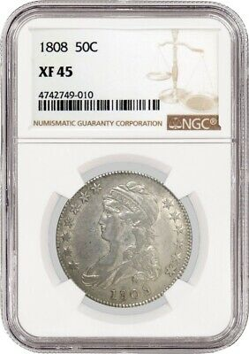 1808 50C Capped Bust Silver Half Dollar NGC XF45 Extremely Fine 45